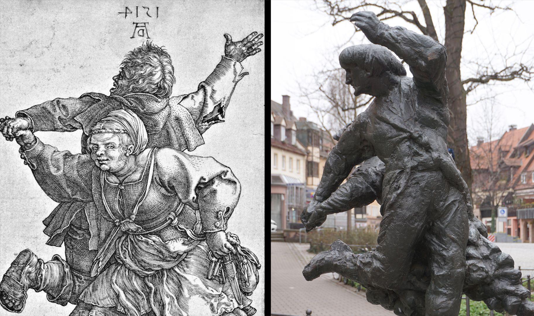 Tanzendes Bauernpaar Bildvergleich: Kupferstich (hier horizontal gespiegelt) von Dürer aus dem Jahre 1514 mit der ausgeführten Skulptur