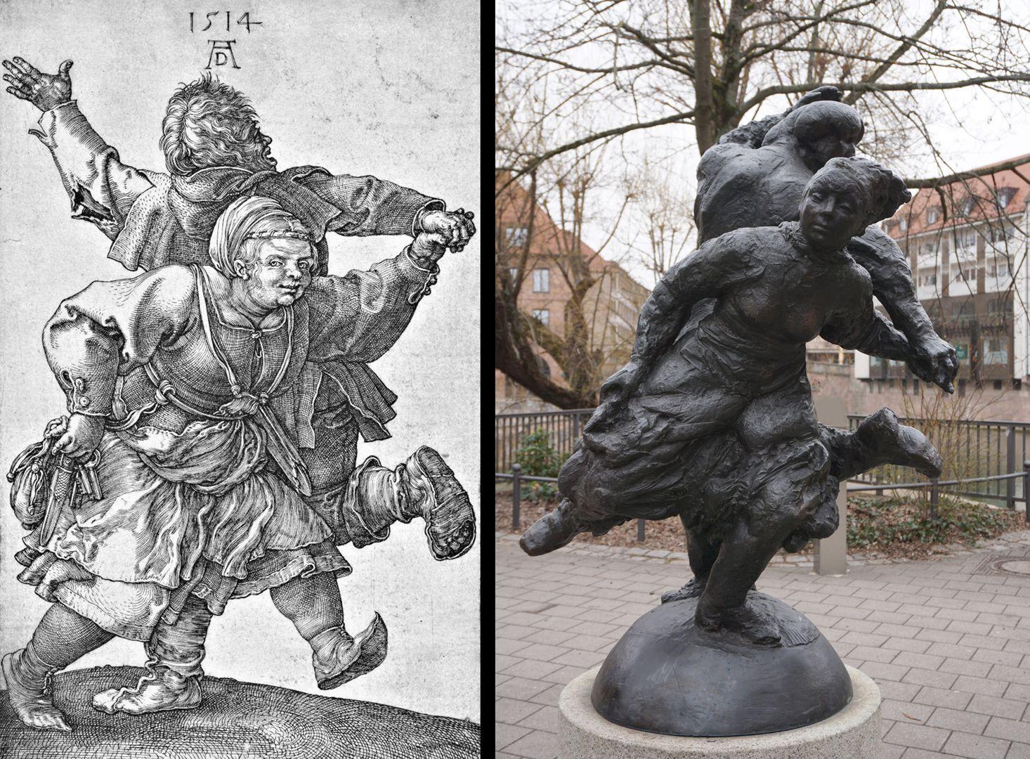 Tanzendes Bauernpaar Bildvergleich: Kupferstich von Dürer aus dem Jahre 1514 mit der ausgeführten Skulptur