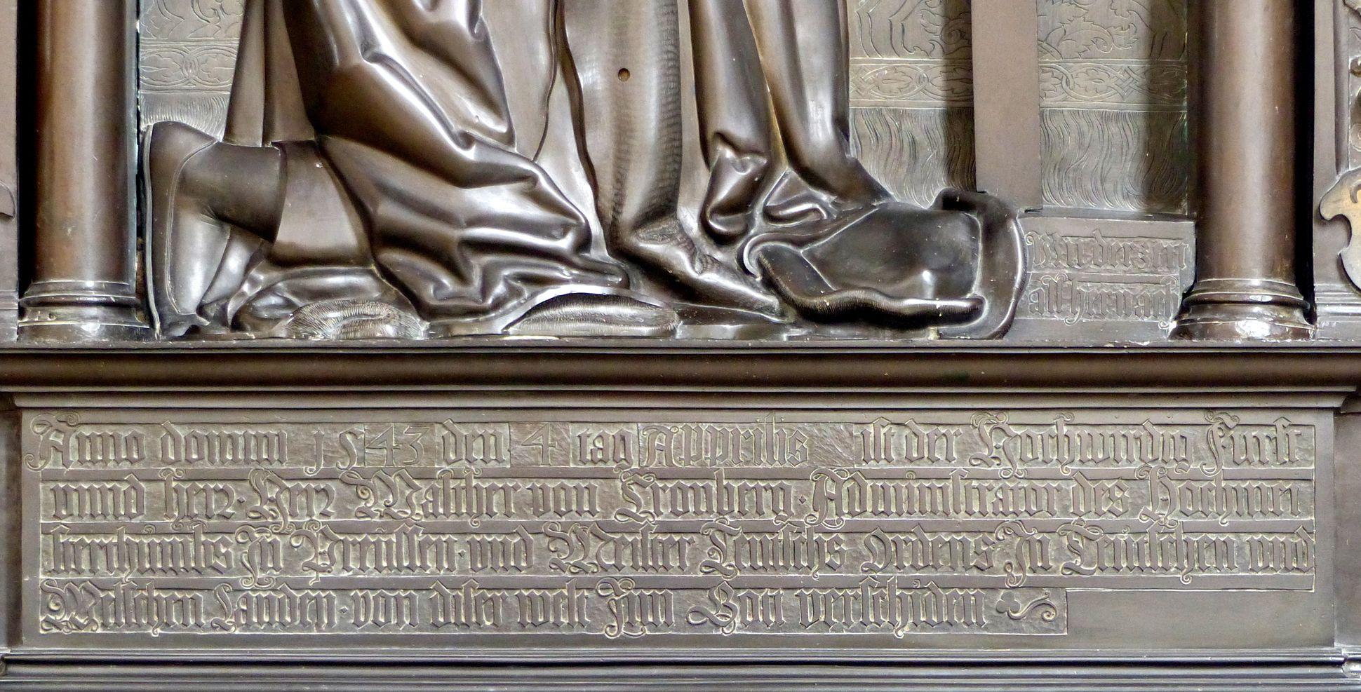 Walter von Cronberg Inschrift