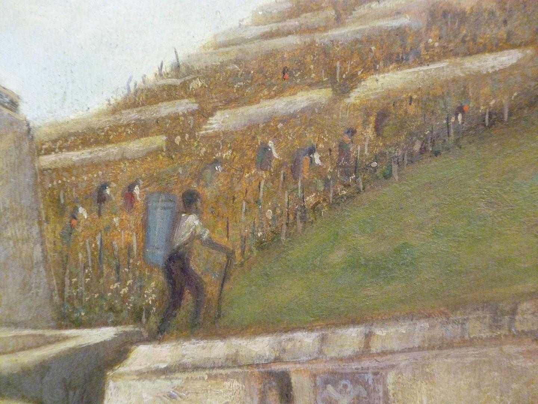 Weinlese bei Würzburg Bildausschnitt, rechte obere Bildhälfte, Weinlese am Berg