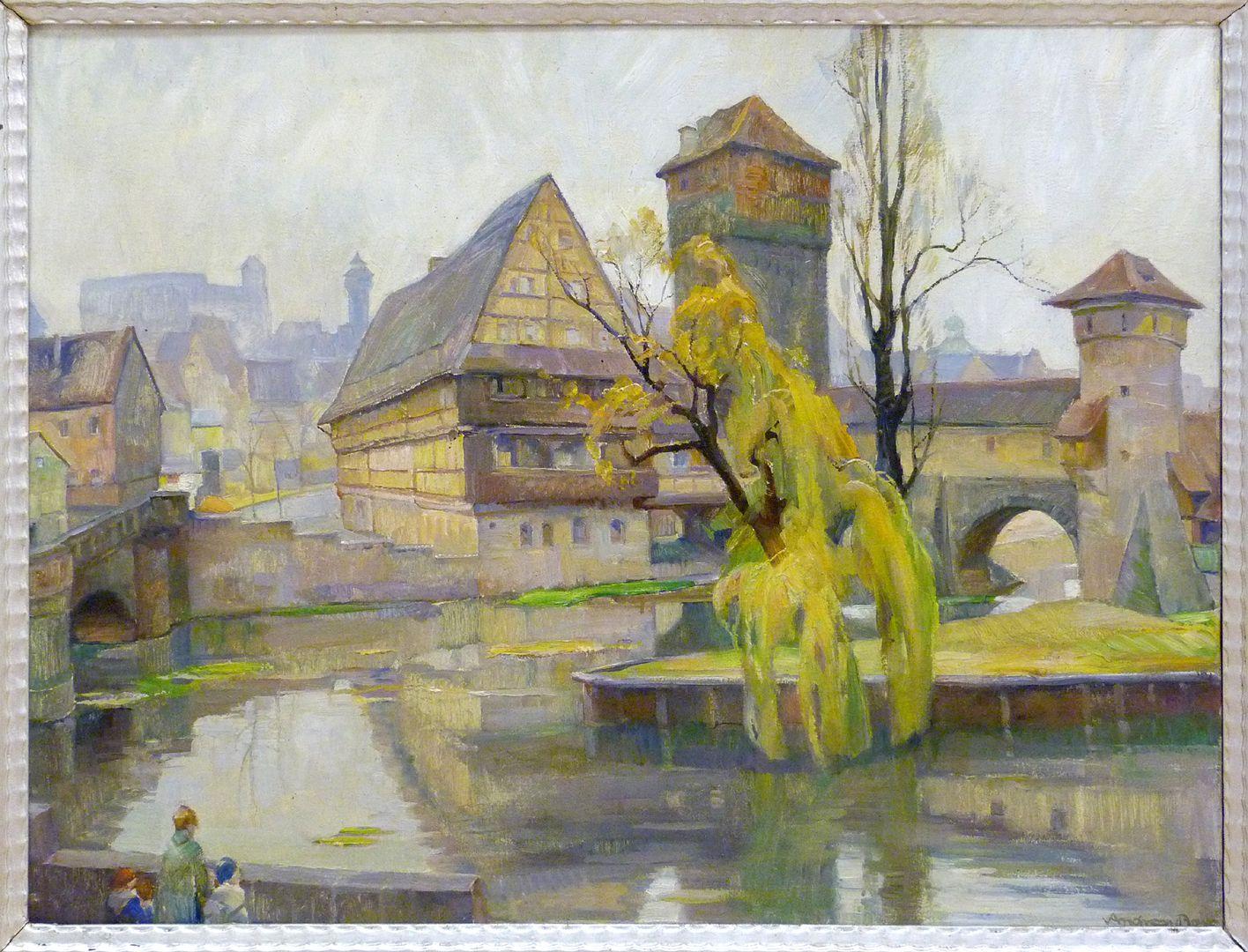 Weinstadel links Maxbrücke, mitte Weinstadel mit Wasserturm, rechts Henkerswohnung und kleiner Henkerturm