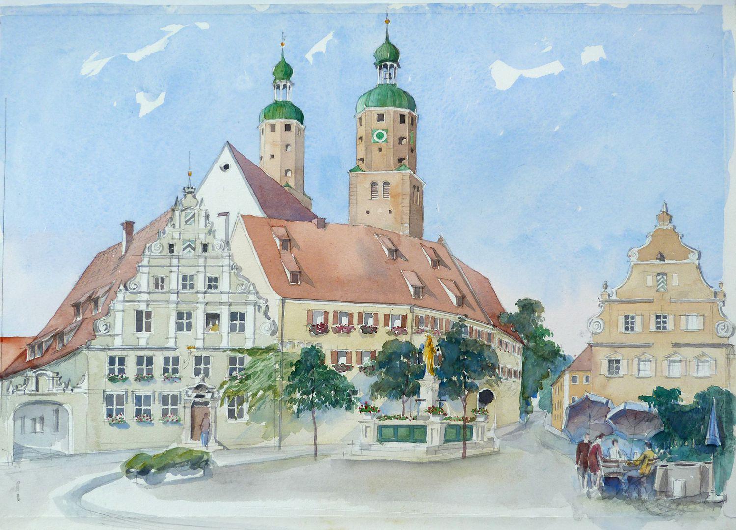 Wemding (Landkreis Donau-Ries) Rathaus am Markt und kath. Stadtpfarrkirche St. Emmeram
