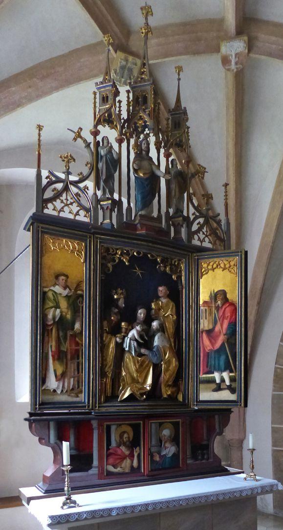Wendelsteiner Dreikönigsaltar Gesamtanischt mit geöffnetem Hauptschrein