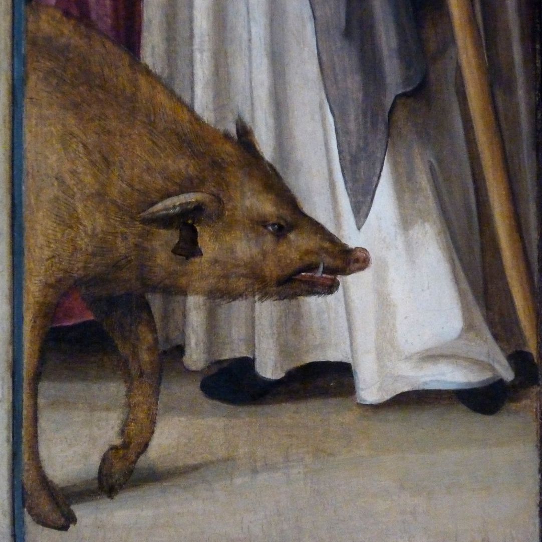 Wendelsteiner Dreikönigsaltar Bildtafel des St. Antonius, Detail mit Schwein und Pestglöckchen