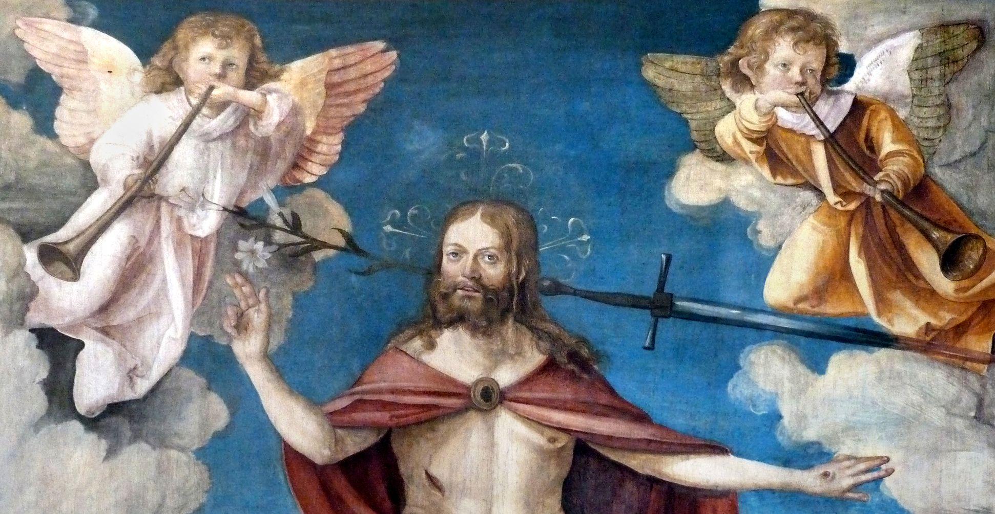 Wendelsteiner Dreikönigsaltar Christus als Weltenrichter, Detail