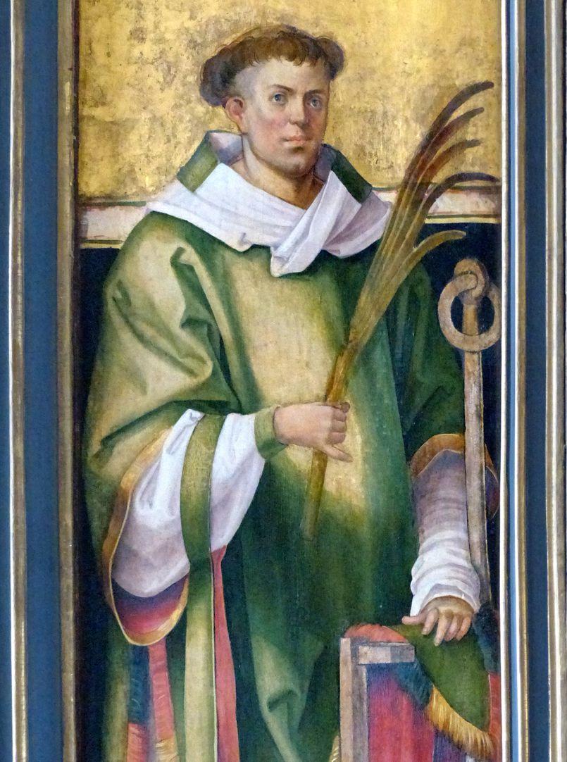 Wendelsteiner Dreikönigsaltar St. Laurentius auf dem bemalten l. Flügel, bei geöffnetem Hauptschrein, Detail