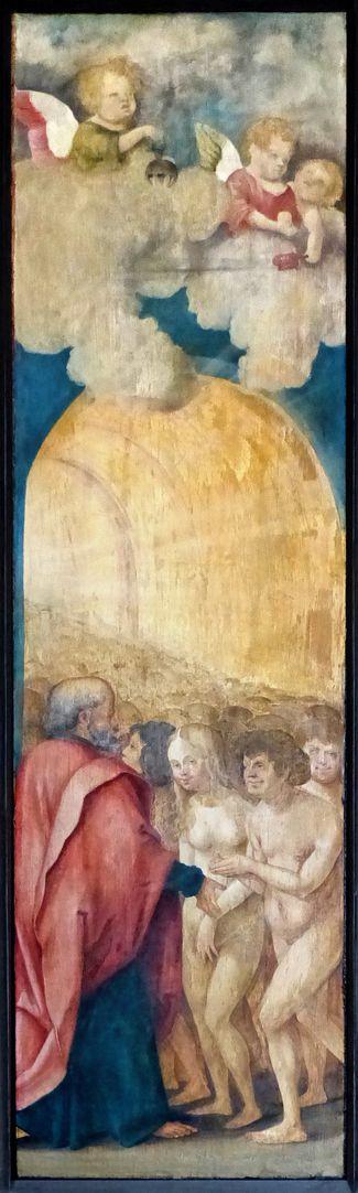 Wendelsteiner Dreikönigsaltar Rückseite, linke Tafel, Die Geretteten schreiten ins himmlische Paradies.