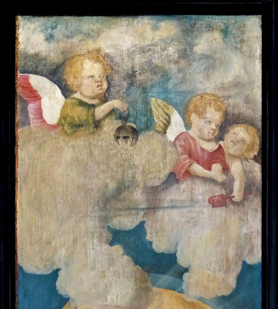 Wendelsteiner Dreikönigsaltar Rückseite, linker Flügel, Detail mit Engeln