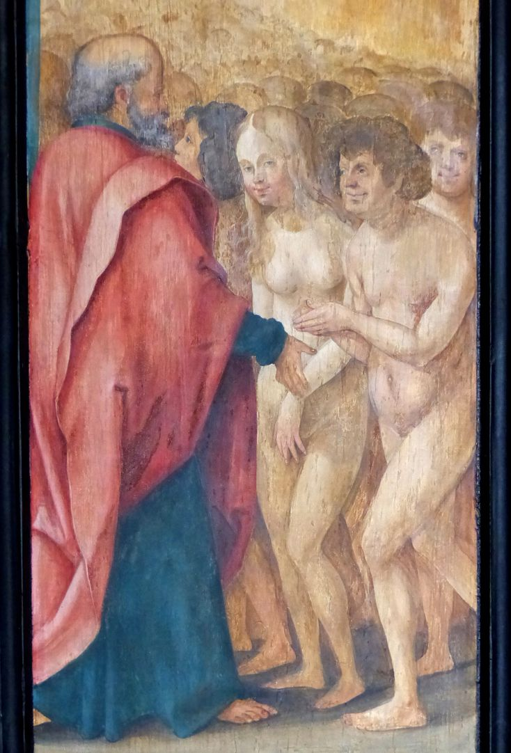 Wendelsteiner Dreikönigsaltar Rückseite, l. Flügel, Petrus mit Adam und Eva