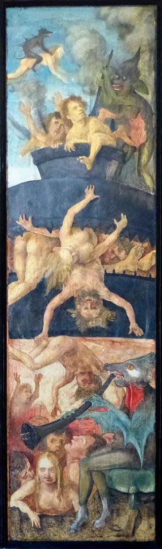 Wendelsteiner Dreikönigsaltar Rückseite, r. Flügel, Die Verdammten erleiden Höllenqualen