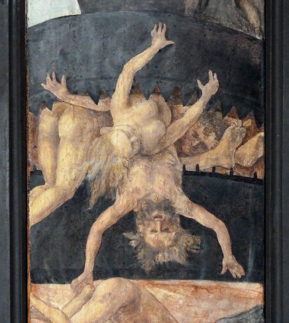 Wendelsteiner Dreikönigsaltar Rückseite, r. Flügel, Detail mit Höllenschlund