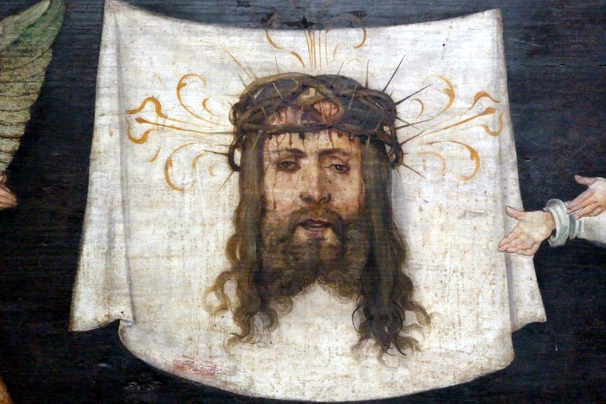 Wendelsteiner Dreikönigsaltar Rückseite, Predella, Schweißtuch der Veronika, Detail