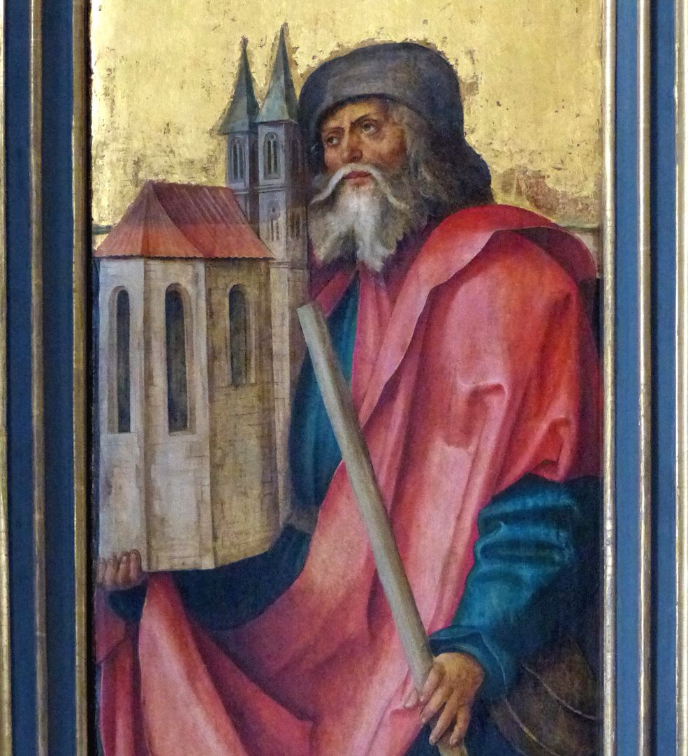 Wendelsteiner Dreikönigsaltar St. Sebald auf dem gemalten r. Flügel, bei geöffnetem Hauptschrein, Detail
