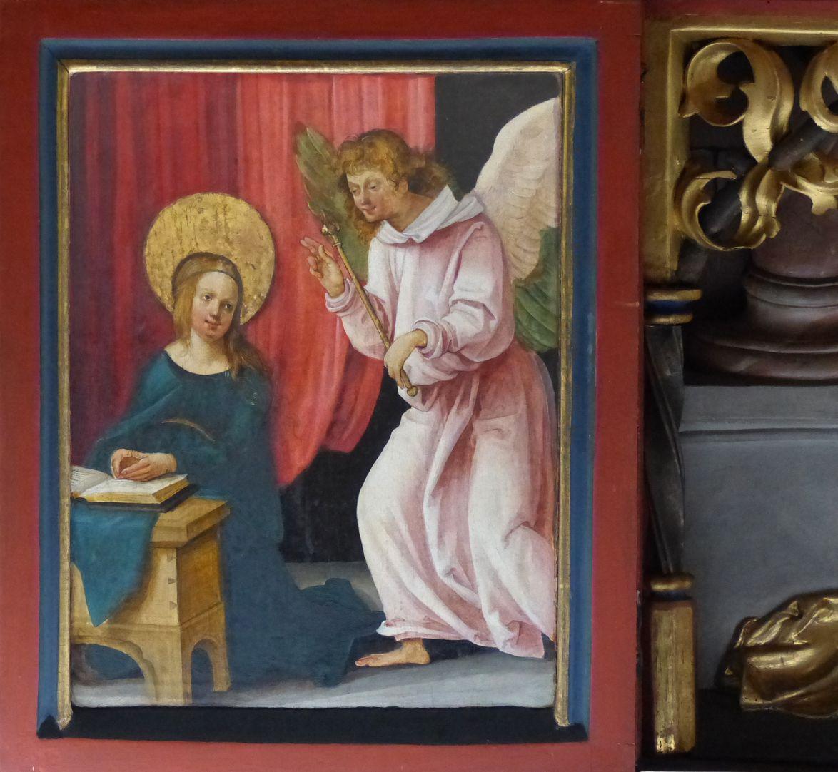 Wendelsteiner Dreikönigsaltar linker Flügel der Predella: Verkündigung an Maria