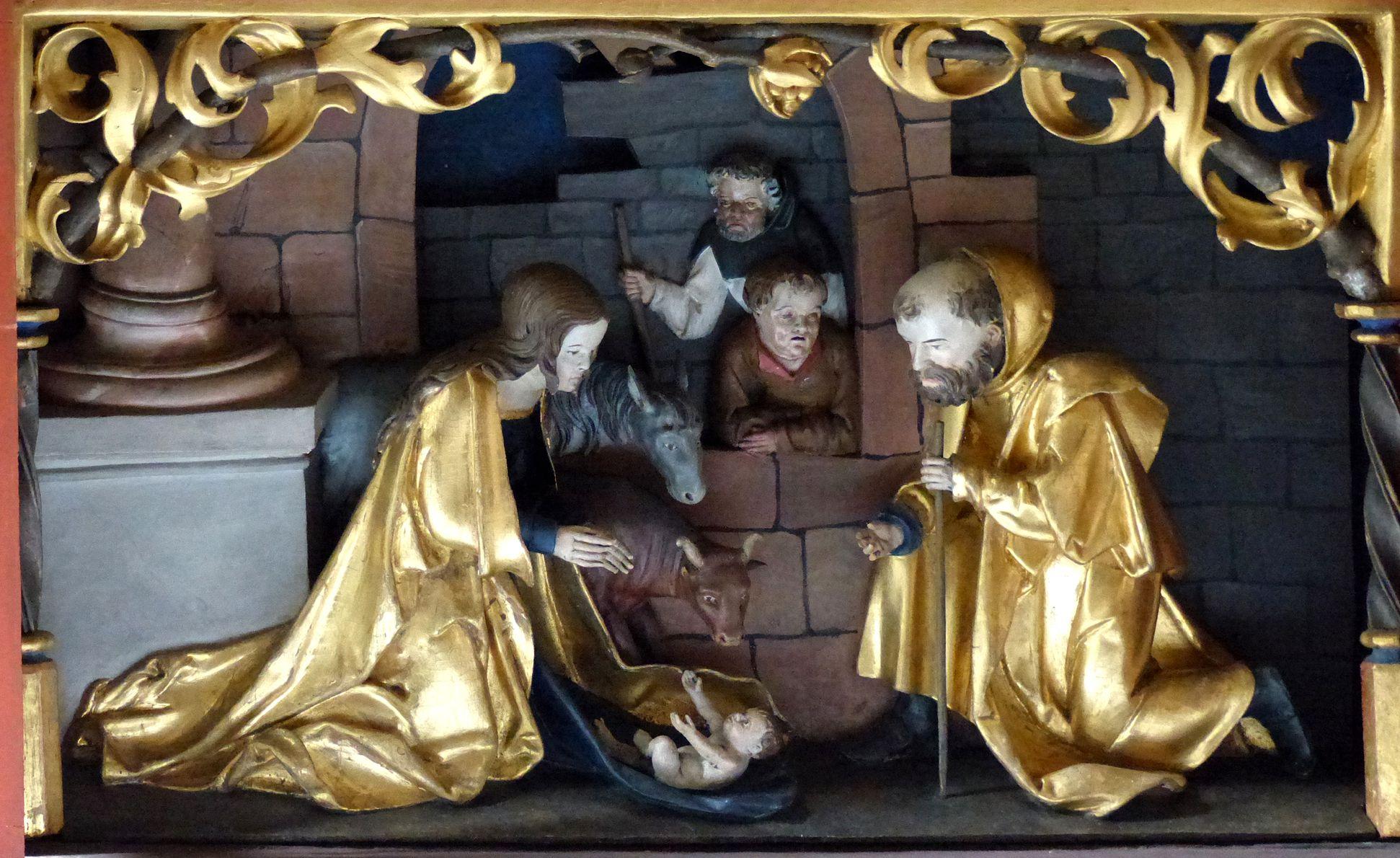 Wendelsteiner Dreikönigsaltar Schrein der Predella, geschnitzte Szene der Geburt Christi
