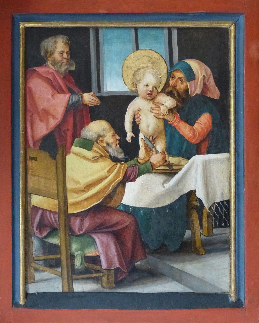 Wendelsteiner Dreikönigsaltar rechter Flügel der Predella: Beschneidung Jesu