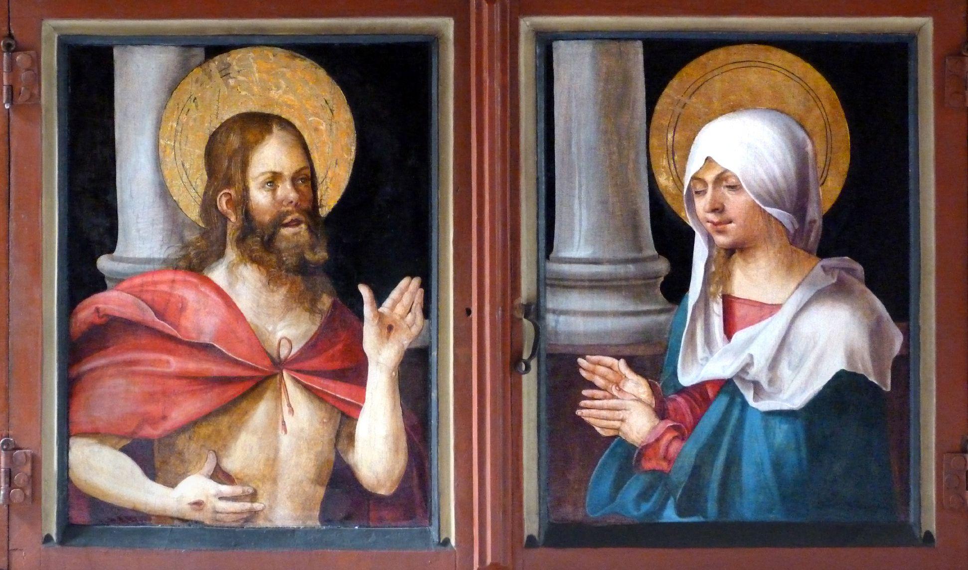 Wendelsteiner Dreikönigsaltar geschlossene Predella: links den Auferstandenen und rechts Maria