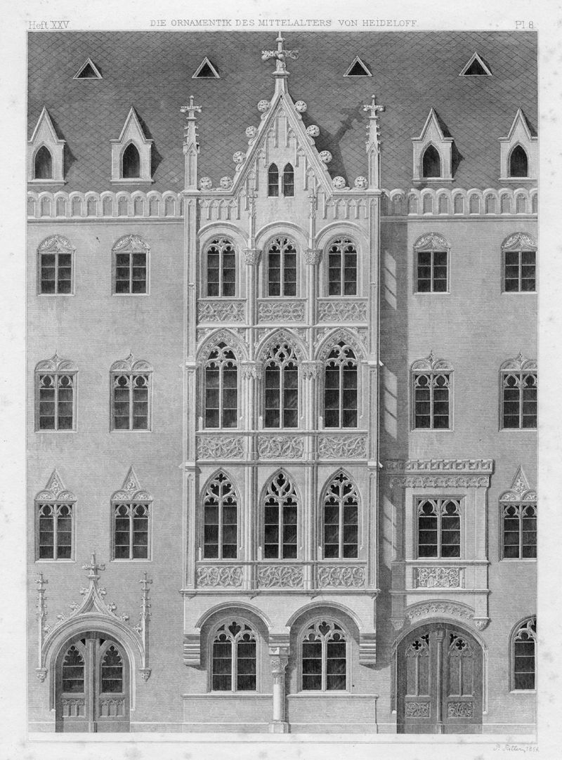 Ornamentik des Mittelalters Wißsches Haus, Nürnberg, ehemals Hauptmarkt 26 (1854). Das Haus zeigt die Widersprüche Heideloffs. Diese Architektur steht nicht wirklich in der Tradition mittelalterlicher Bürgerhäuser der Stadt, sie vermischt außerdem sakrale und profane Gotik.
