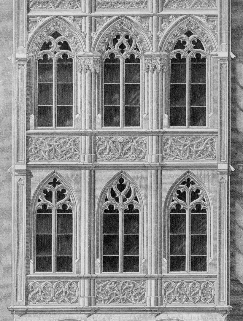 Ornamentik des Mittelalters Wißsches Haus, Nürnberg, ehemals Hauptmarkt 26 (1854), Detail. Das Haus zeigt die Widersprüche Heideloffs. Diese Architektur steht nicht wirklich in der Tradition mittelalterlicher Bürgerhäuser der Stadt, sie vermischt außerdem sakrale und profane Gotik.