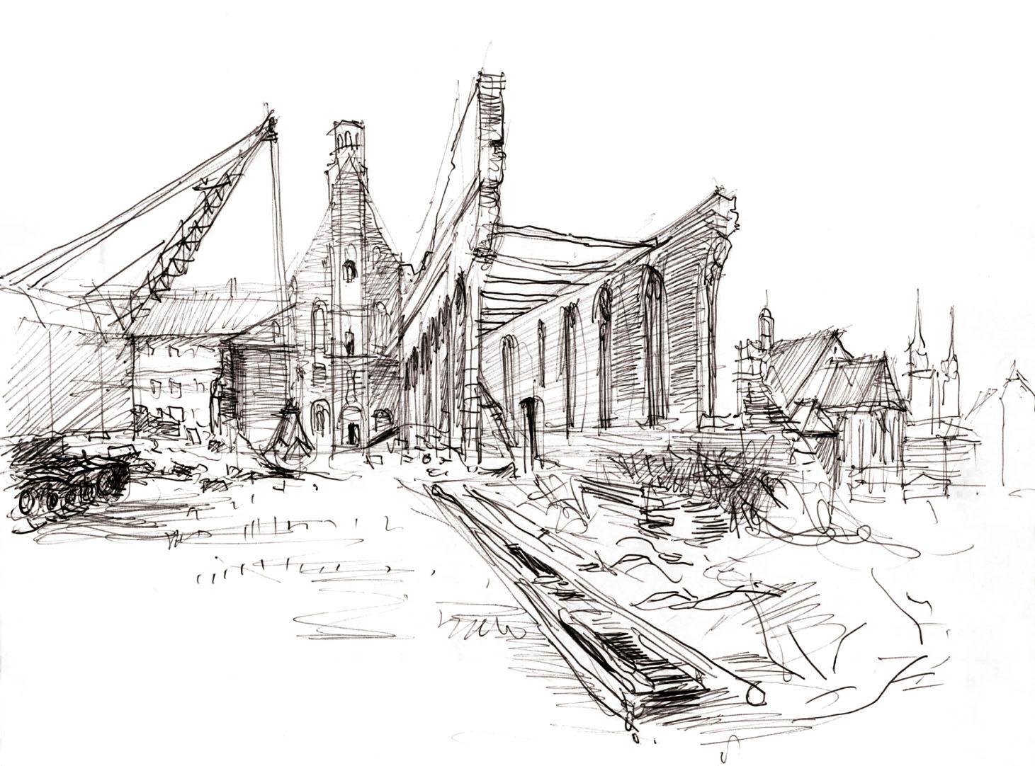 Wiederaufbau der ehemaligen Heilig-Geist-Spital Kirche Gesamtansicht