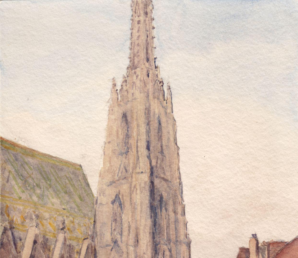 Wien Stephansdom obere Blatthälfte, Turmspitze und Dach