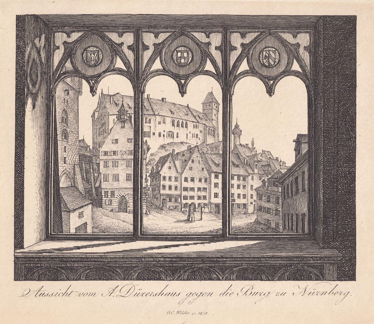 Aussicht vom A.Dürershaus gegen die Burg zu Nürnberg Gesamtansicht
