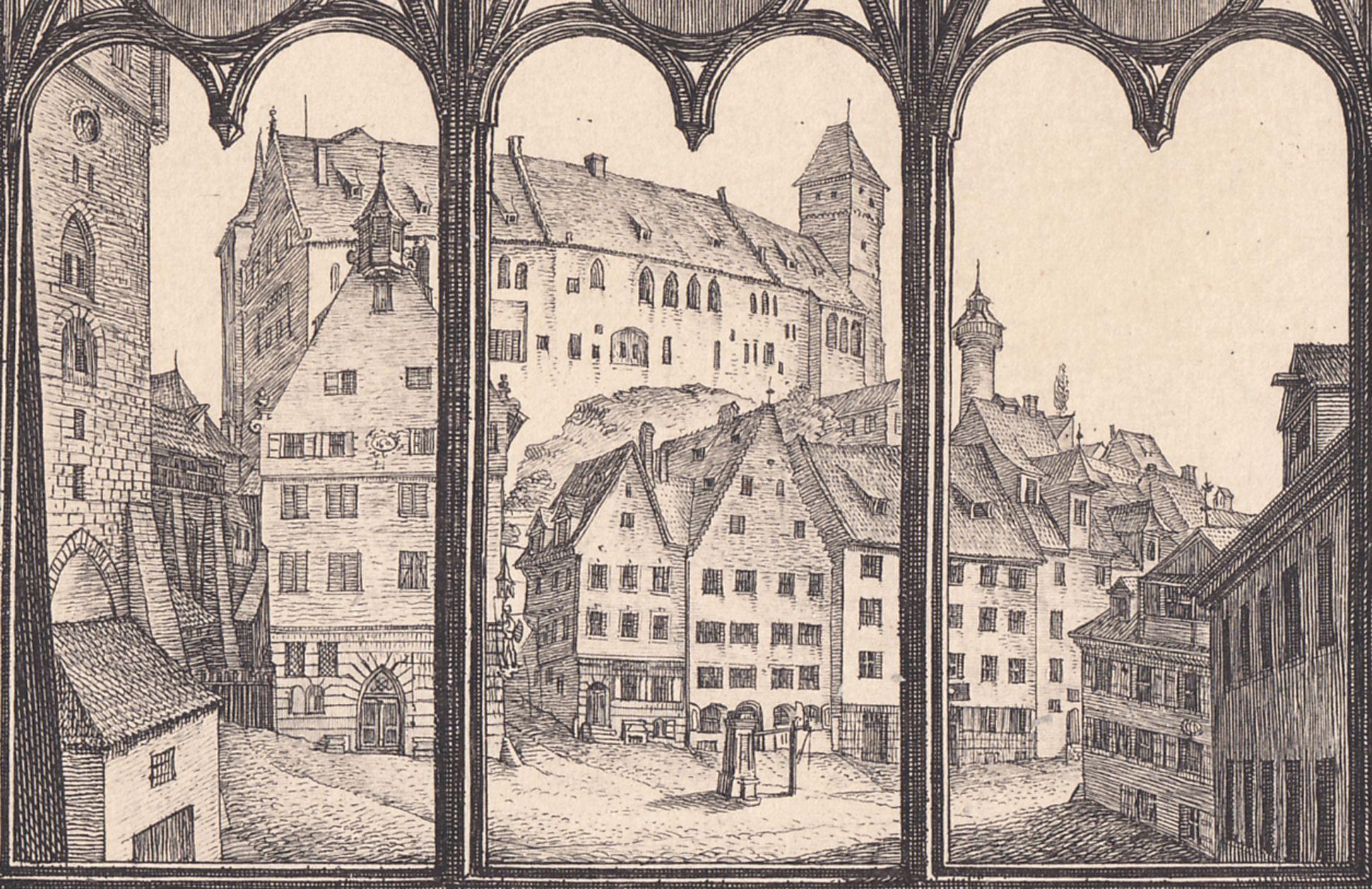 Aussicht vom A.Dürershaus gegen die Burg zu Nürnberg Detail