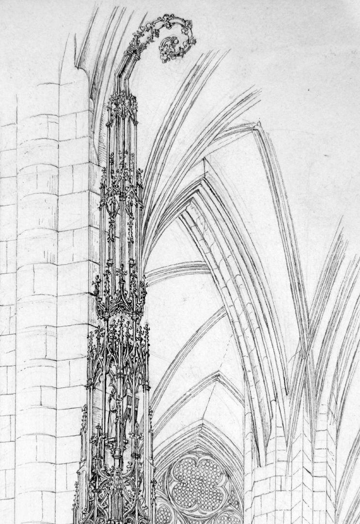 Das Sacramenthäuschen in der Kirche zu St. Lorenz Detail der Spitze