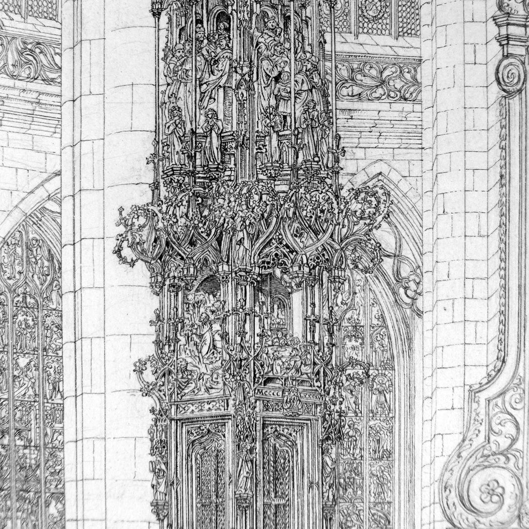 Das Sacramenthäuschen in der Kirche zu St. Lorenz unterer Teil mit Tabernakel