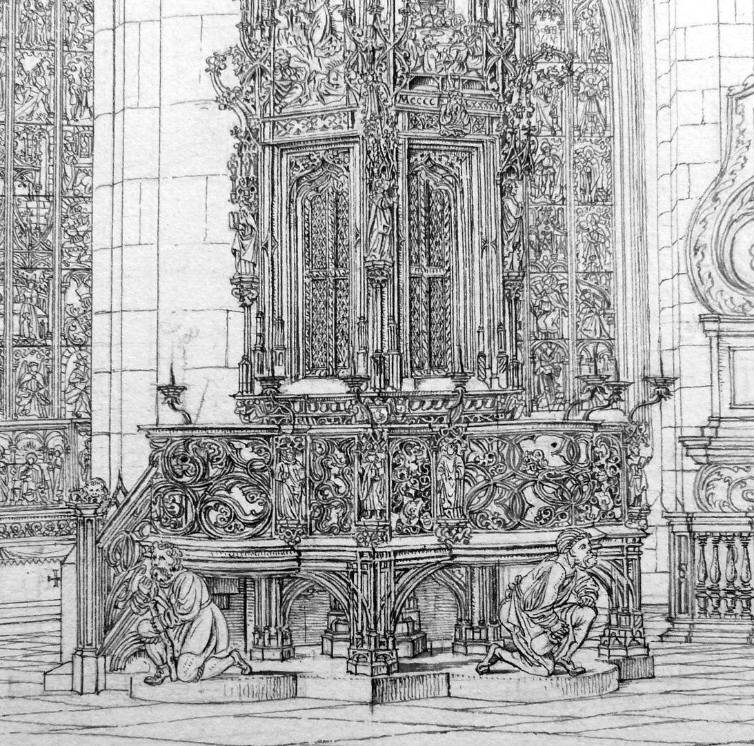 Das Sacramenthäuschen in der Kirche zu St. Lorenz Umgangsbühne mit Brüstung und Tragefiguren