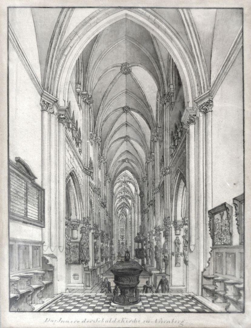 Das Innere der Sebaldskirche zu Nürnberg Gesamtansicht