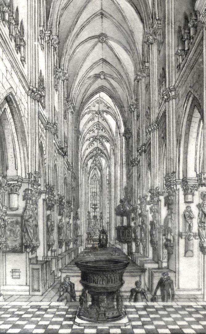 Das Innere der Sebaldskirche zu Nürnberg Blick in das Kirchenschiff, Detail