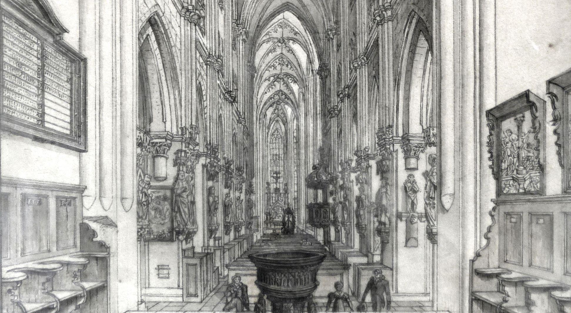 Das Innere der Sebaldskirche zu Nürnberg unterer Bildausschnitt
