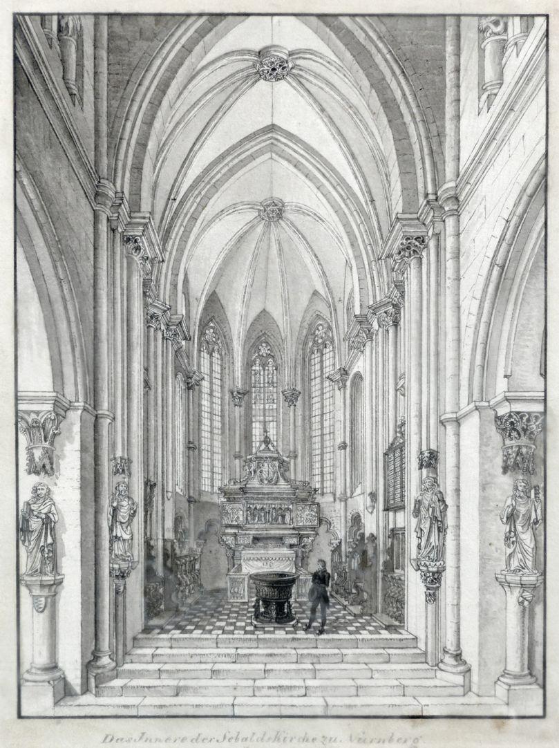 Das Innere der Sebaldskirche zu Nürnberg, Westchor Gesamtansicht