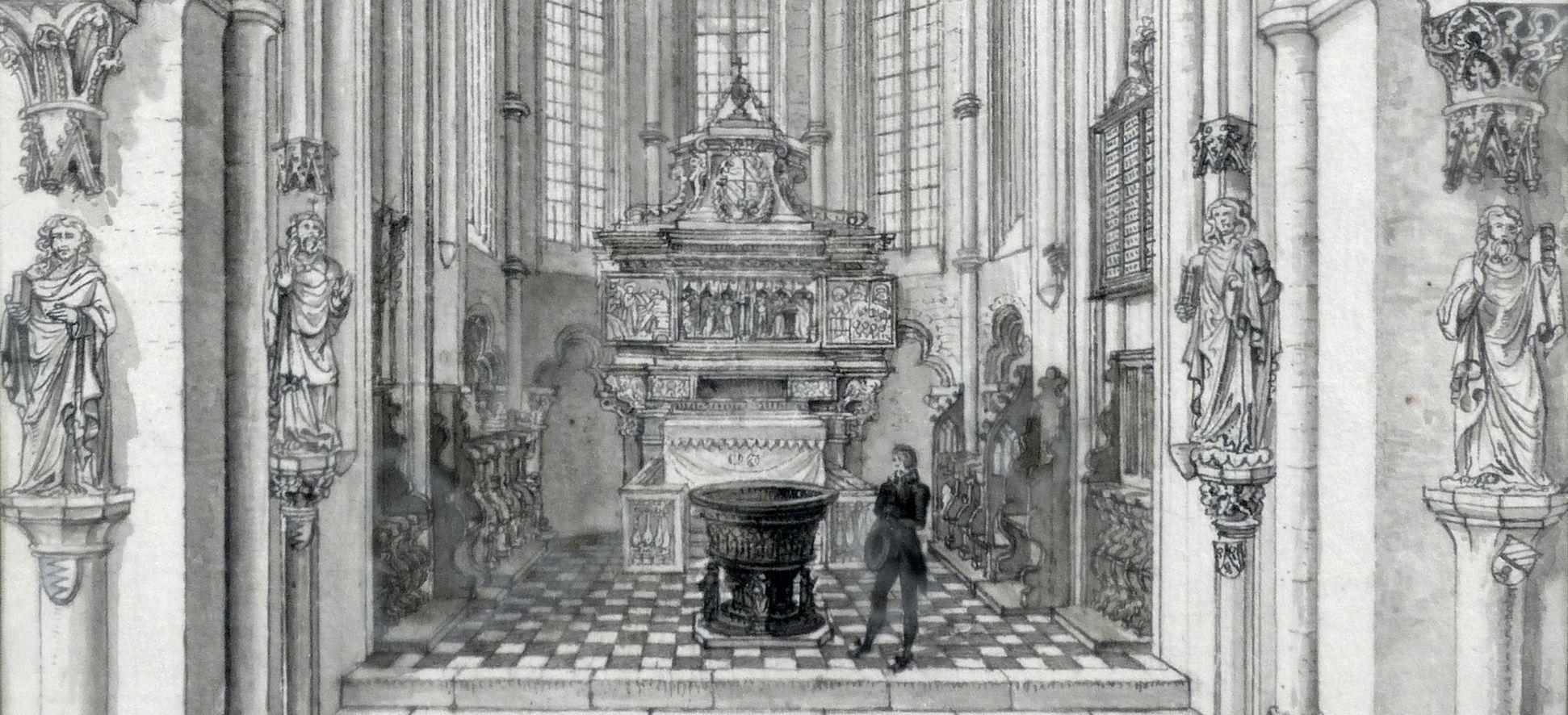 Das Innere der Sebaldskirche zu Nürnberg, Westchor unterer Bildausschnitt
