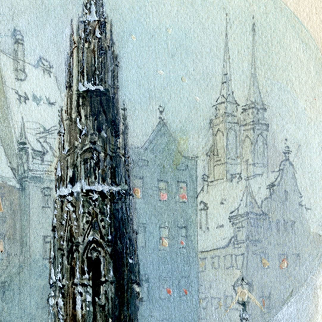 Schöner Brunnen zur Christkindlesmarktzeit Bildauschnitt mit oberen Brunnenteil und den Türmen von St. Sebald