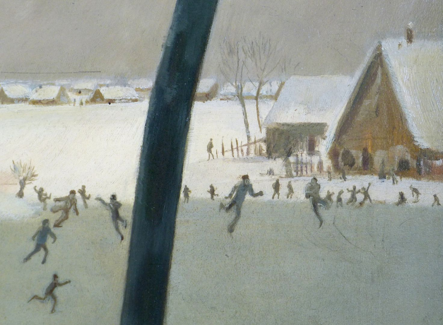 Winter im Knoblauchsland bei Nürnberg Bildausschnitt mit Eisläufern
