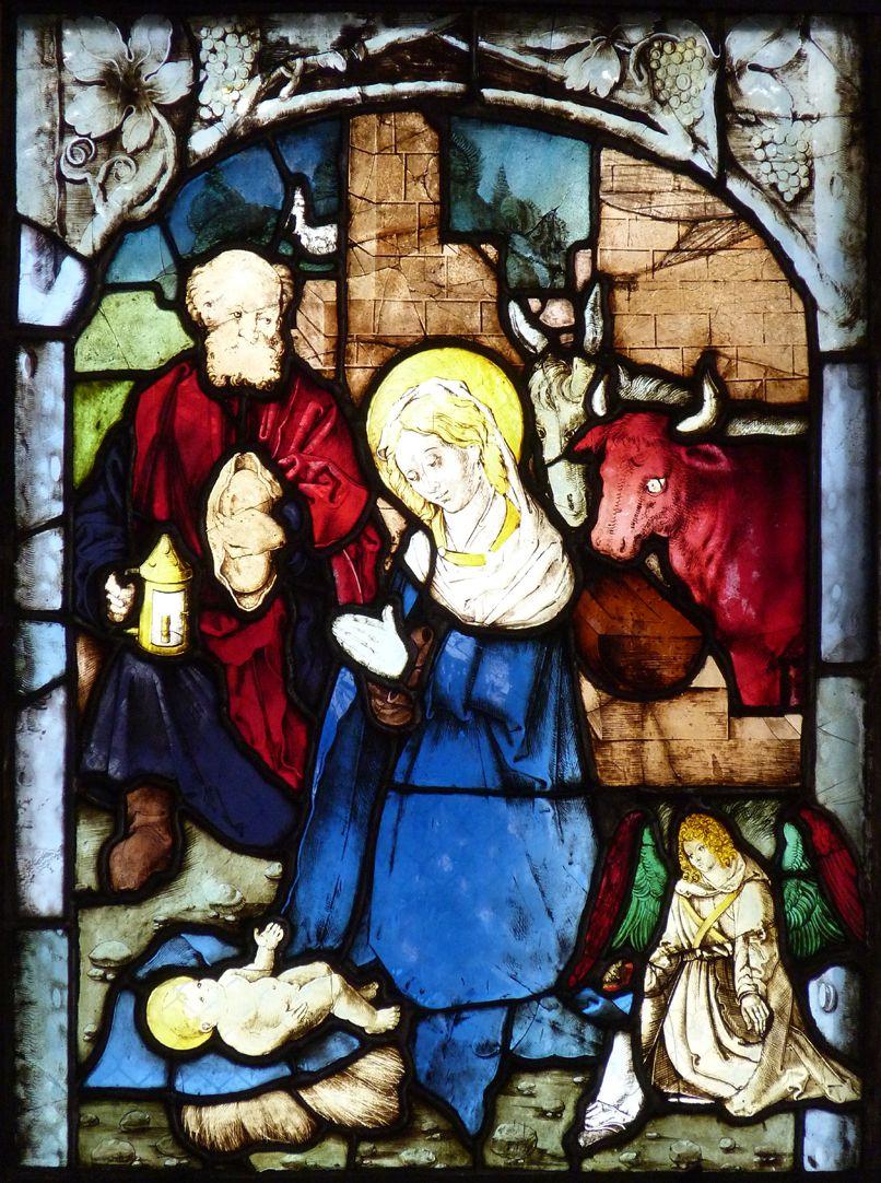 St. Bartholomäus, Chorfenster n II Zweite Zeile, Fenster b, Geburt Christi