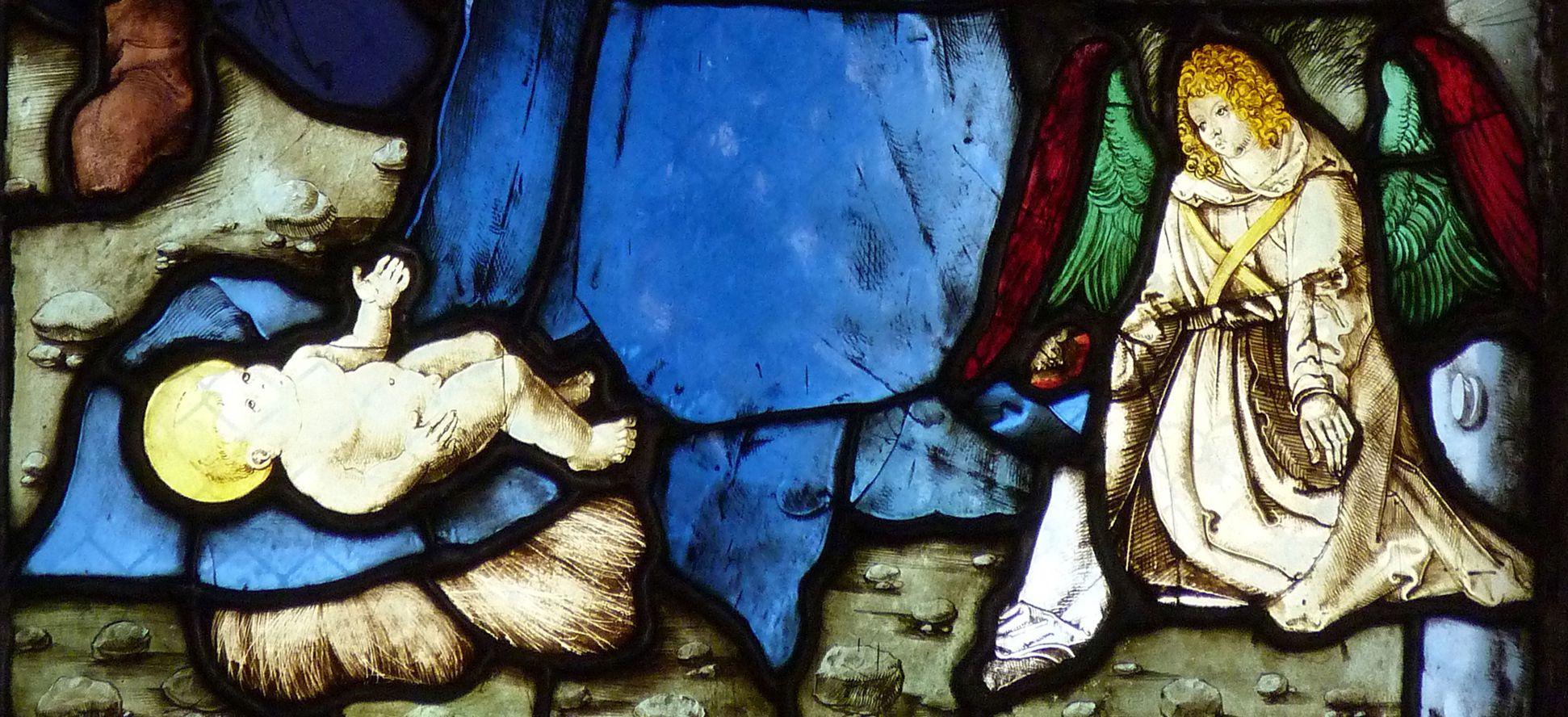 St. Bartholomäus, Chorfenster n II Zweite Zeile, Fenster b, Detail der unteren Bildhälfte
