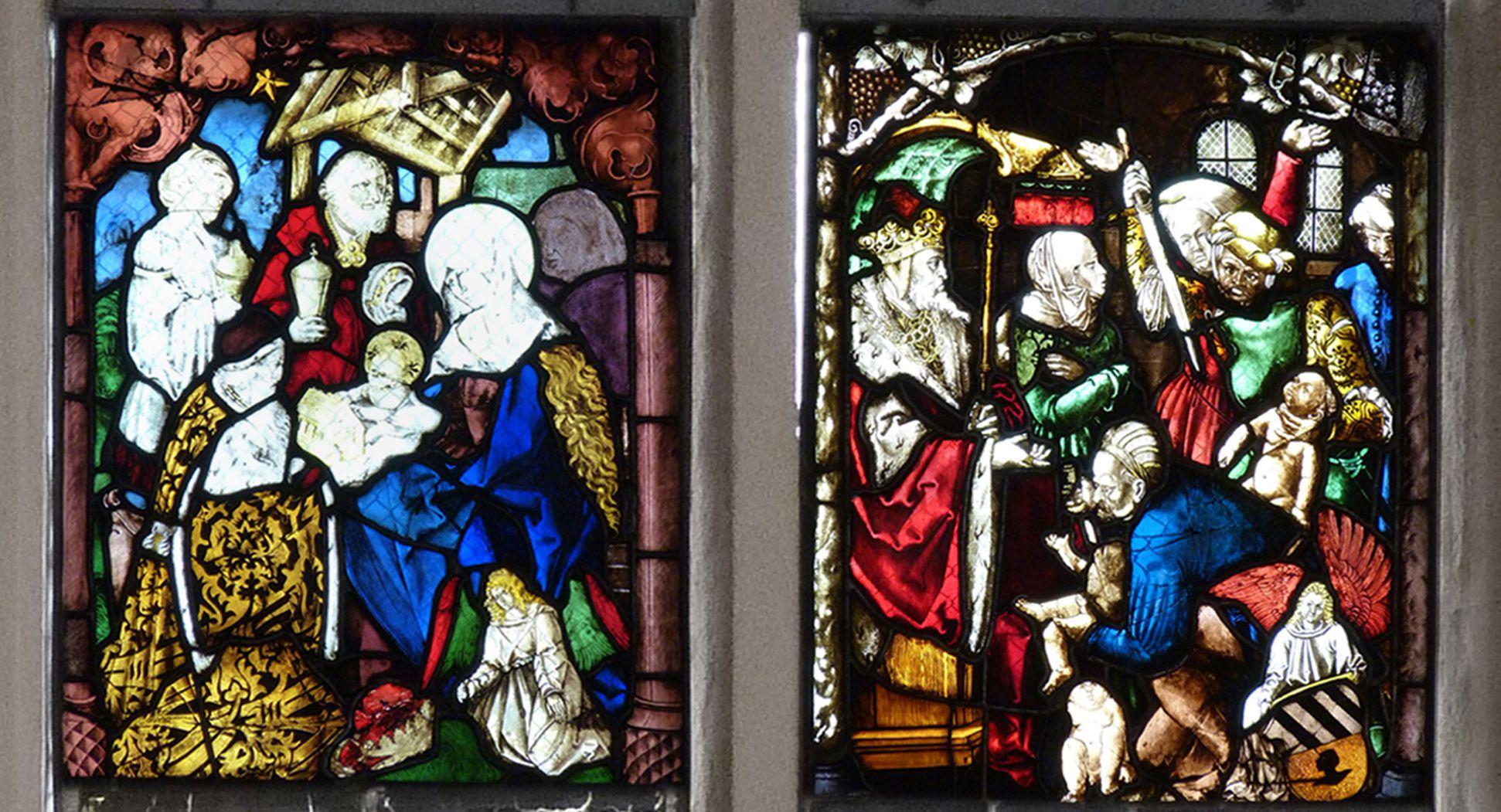 St. Bartholomäus, Chorfenster n II Dritte Zeile, von links nach rechts: Anbetung der Könige und Kindermord zu Bethlehem