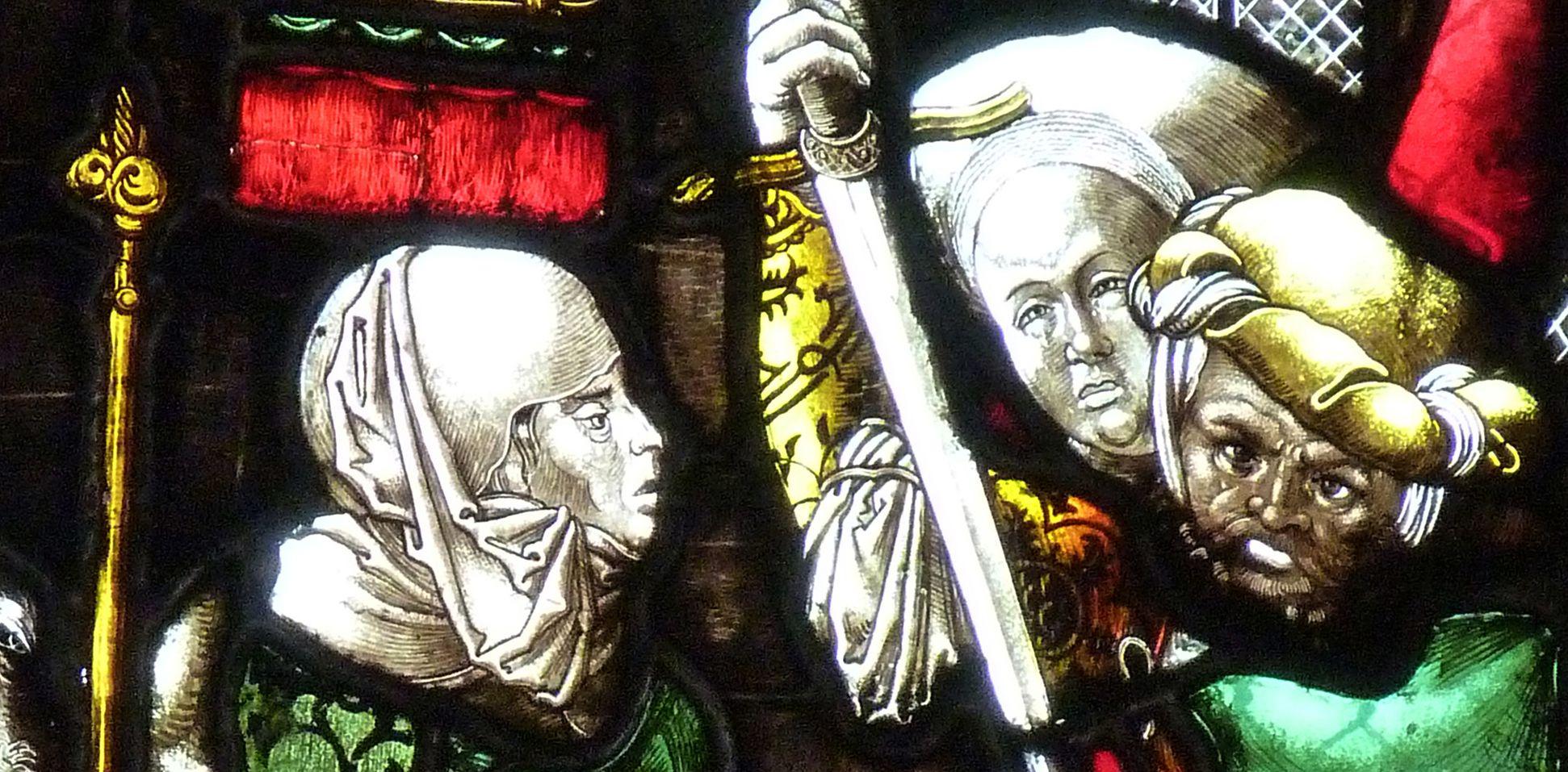 St. Bartholomäus, Chorfenster n II Dritte Zeile, Fenster b, Kindermord zu Bethlehem, Detail