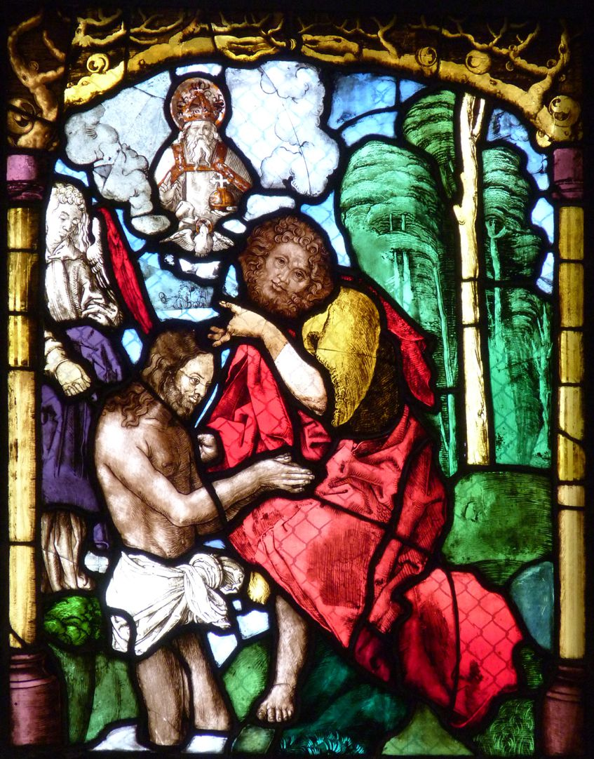 St. Bartholomäus, Chorfenster n II Vierte Zeile, Fenster a, Taufe Christi