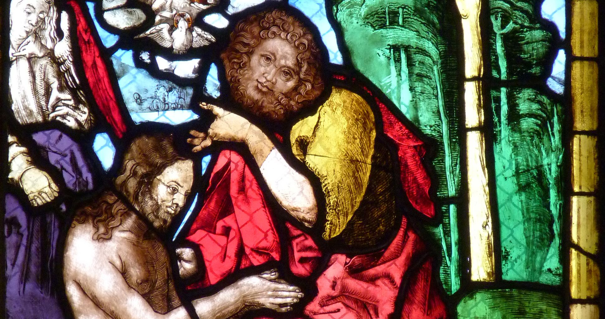 St. Bartholomäus, Chorfenster n II Vierte Zeile, Fenster a, Taufe Christi, Detail