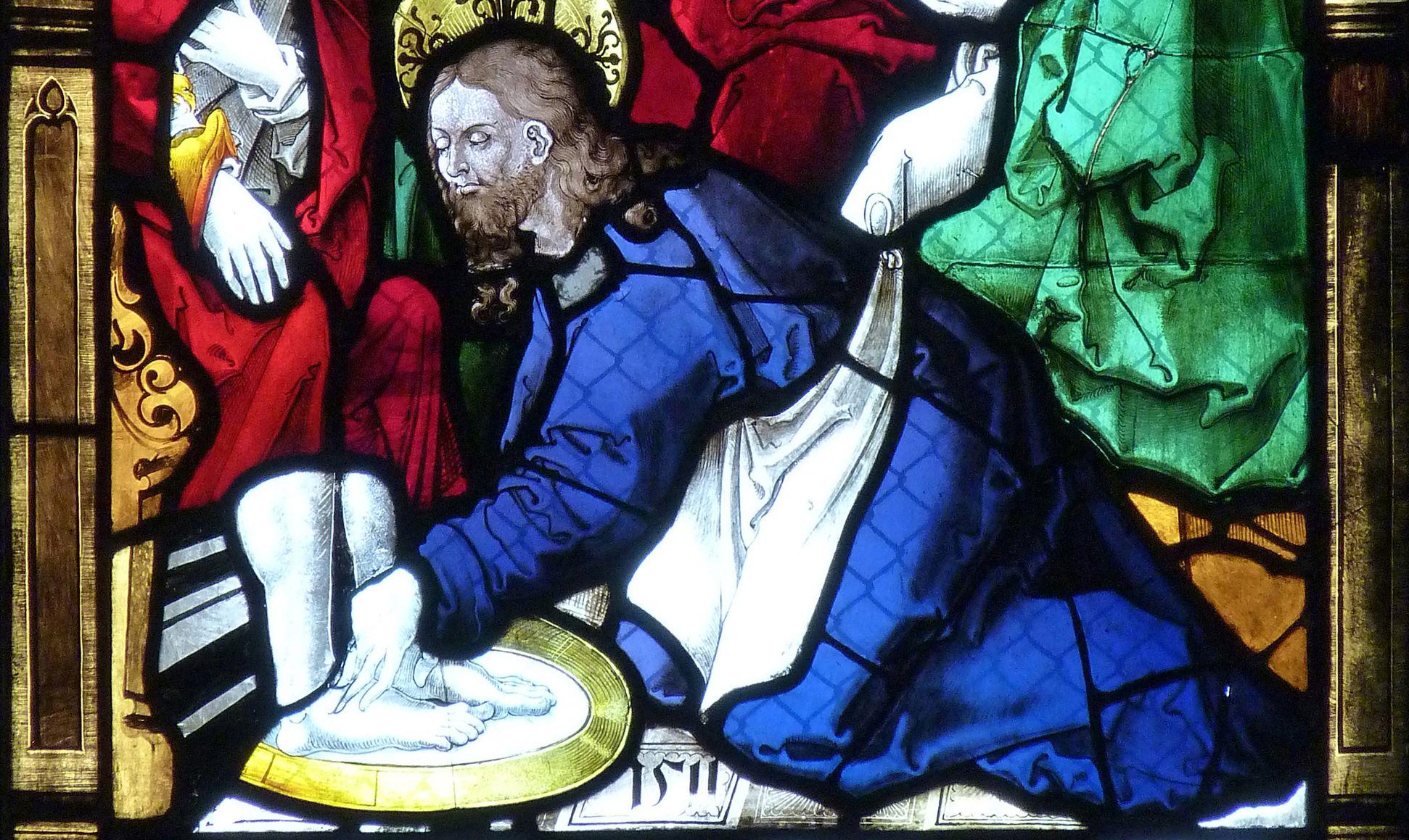 St. Bartholomäus, Chorfenster n II Fünfte Zeile, Fenster a, Fußwaschung, Detail, bez. 1511