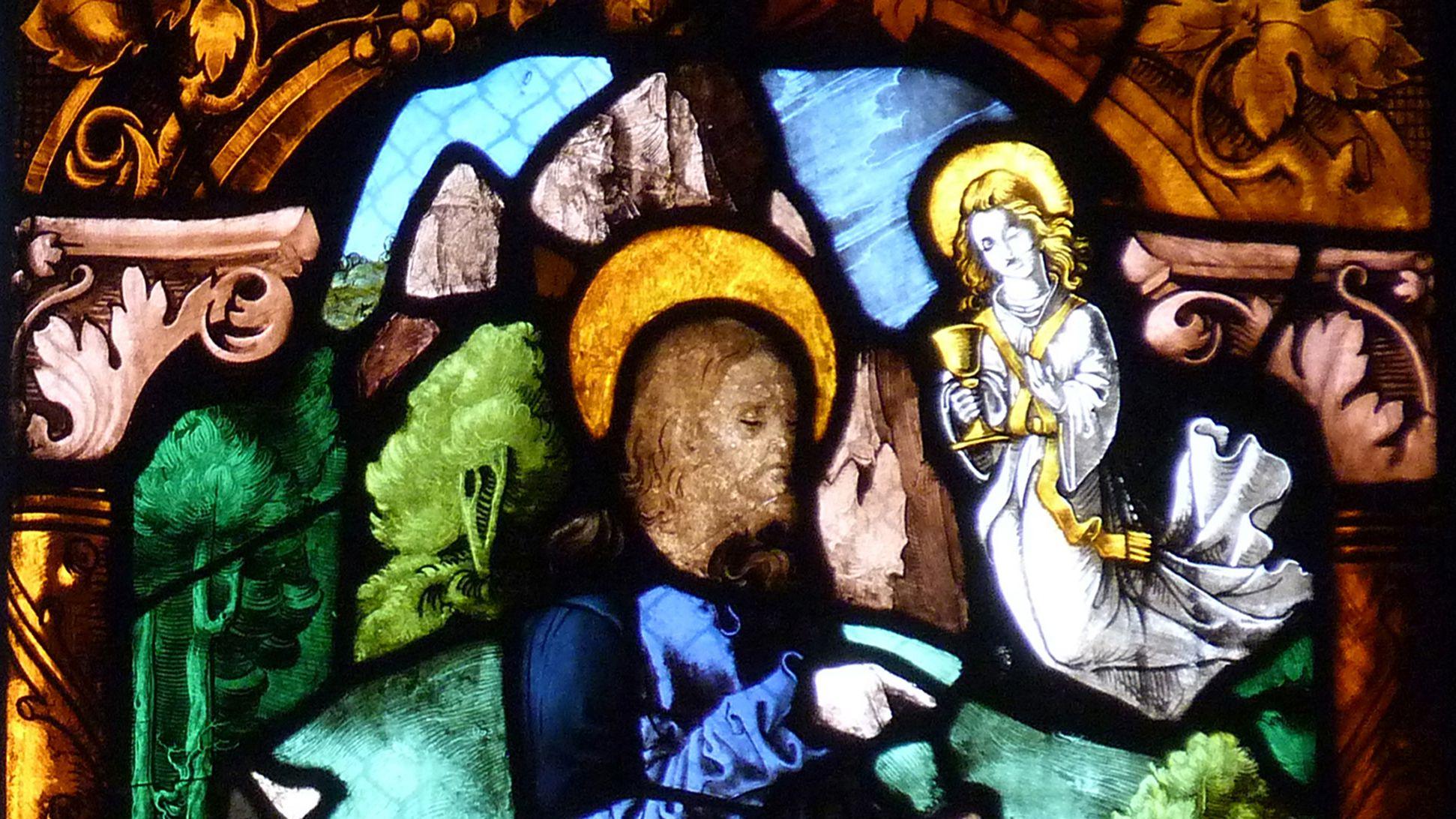 St. Bartholomäus, Chorfenster n II Fünfte Zeile, Fenster b, Jesus am Ölberg, obere Bildhälfte