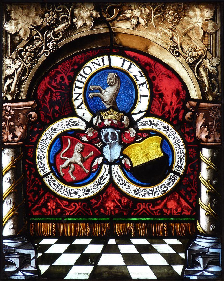 St. Bartholomäus, Chorfenster n II Erste Zeile, Fenster b, Beischild Pfinzing und Umschrift Anthoni Tetzel