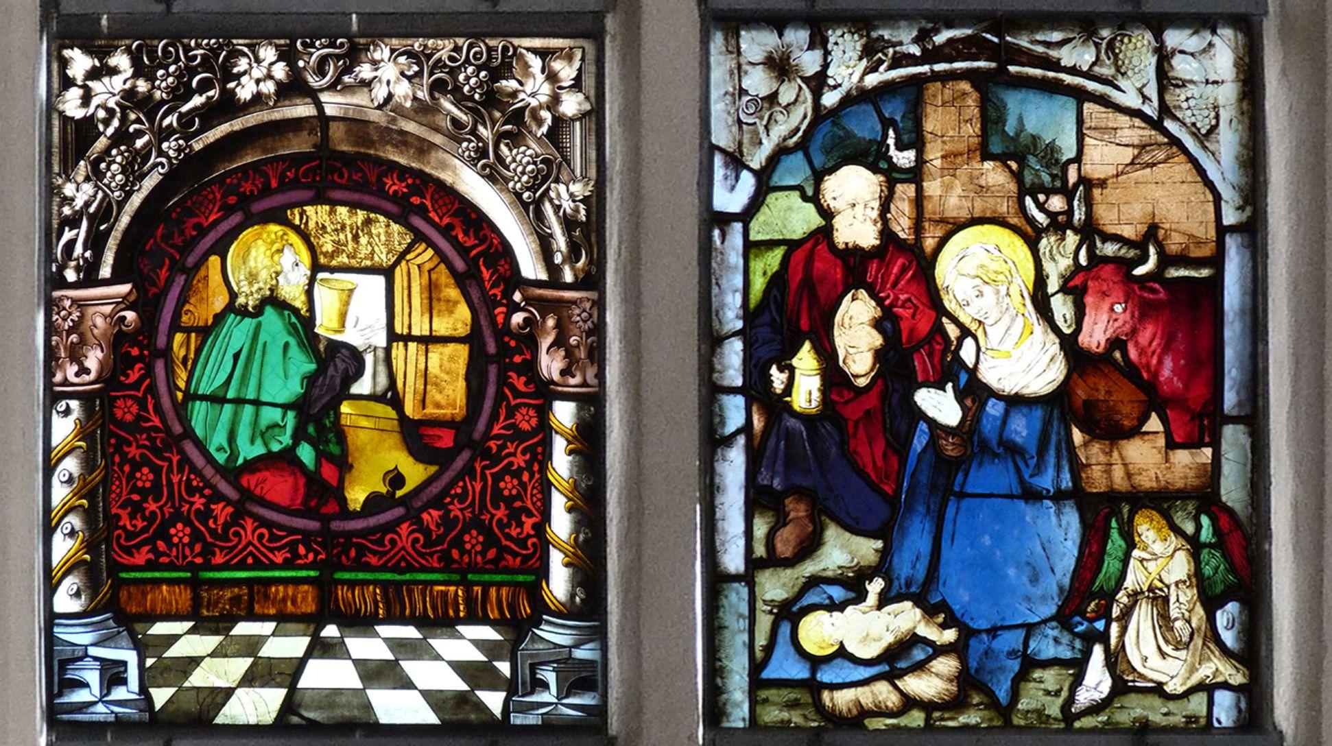 St. Bartholomäus, Chorfenster n II Zweite Zeile, von links nach rechts: Der Ev. Johannes und die Geburt Christi