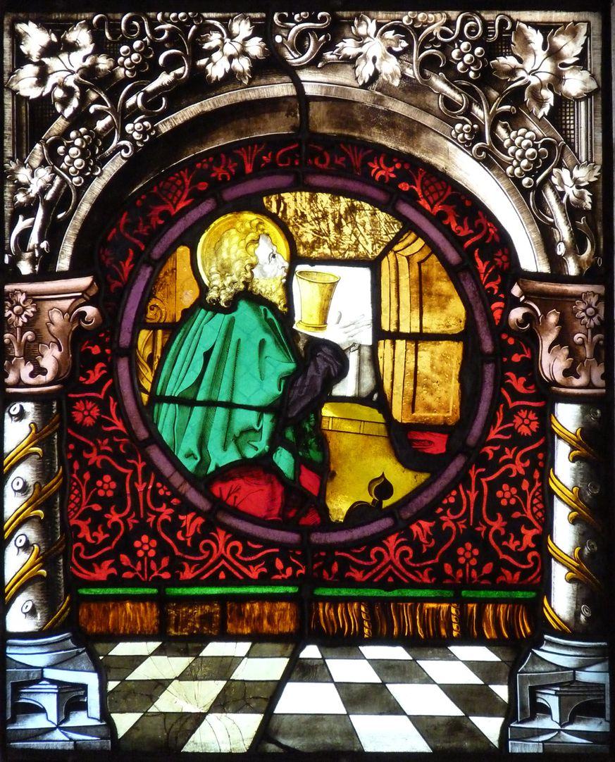 St. Bartholomäus, Chorfenster n II Zweite Zeile, Fenster a, Ev. Johannes  (Architekturrahmung von 1886)