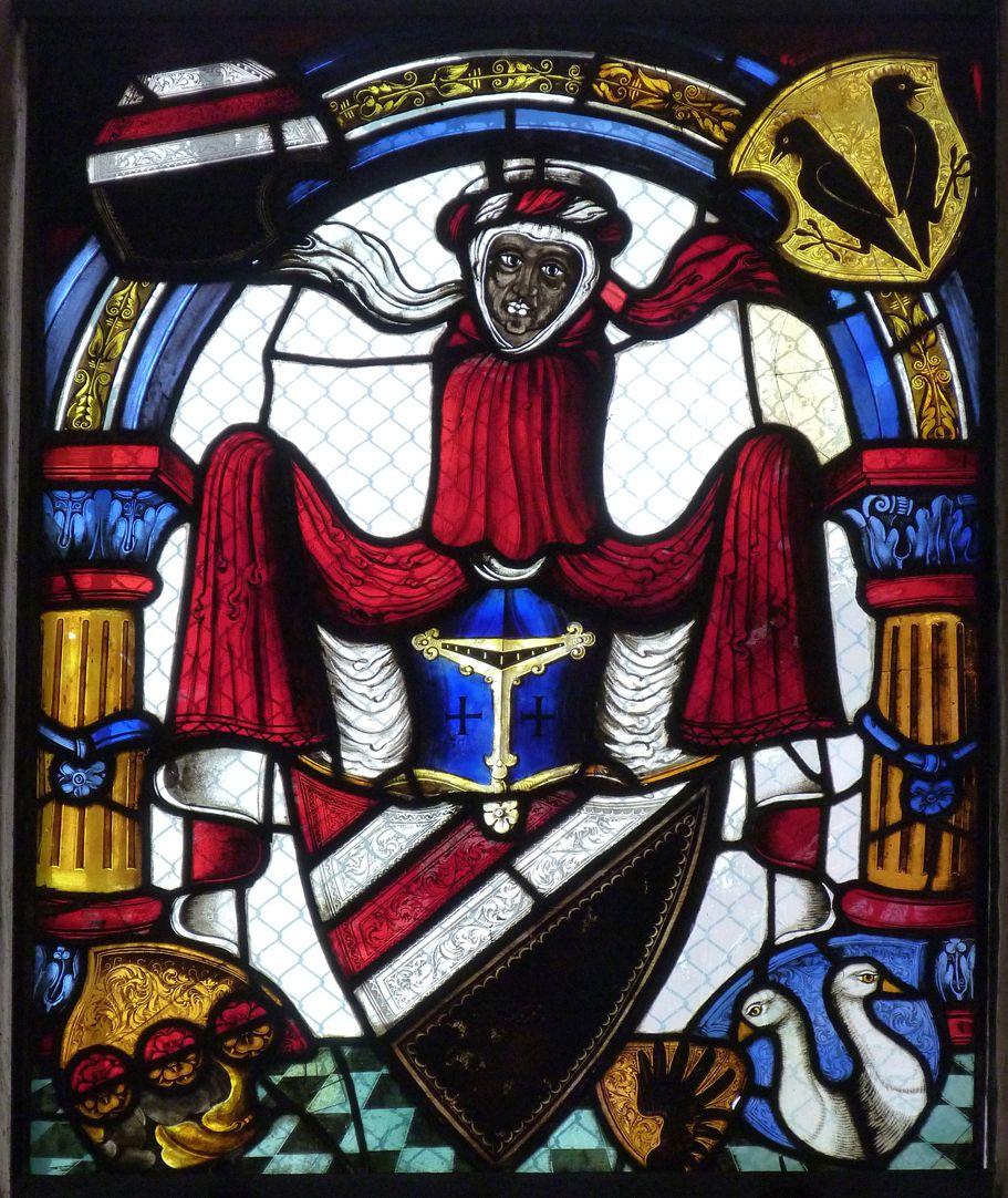 St. Bartholomäus, Chorfenster n III Wappen des Bartholomäus Pömer mit Wappenkranz Pömer, Schmidmayr, Rummel und Bergmeister mit Beischild Flück