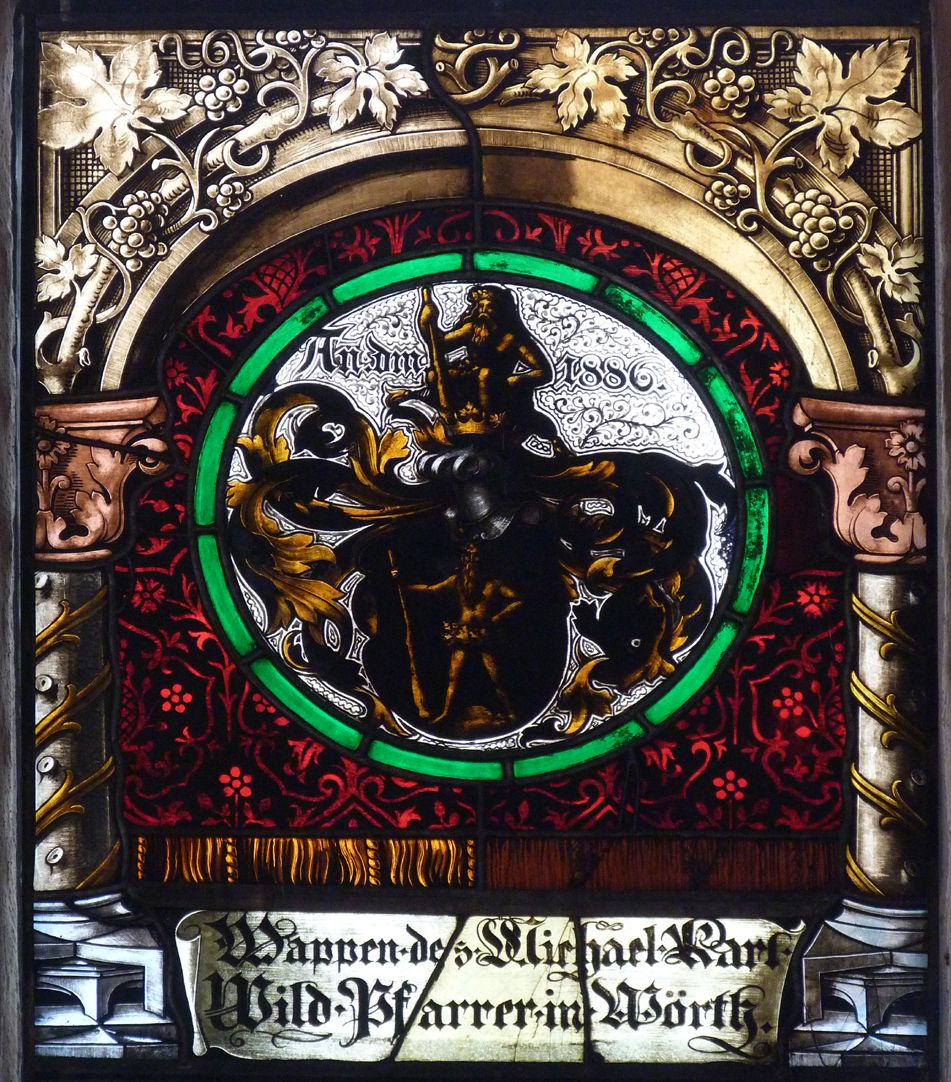 St. Bartholomäus, Chorfenster n III Wappen des Michael Karl Wild, Pfarrer in Wöhrd, 1886